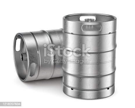 istock Metal beer kegs isolated on white background 1218207634