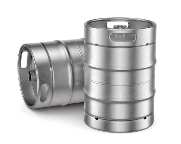 metall-bierfässer isoliert auf weißem hintergrund - bierfass stock-fotos und bilder