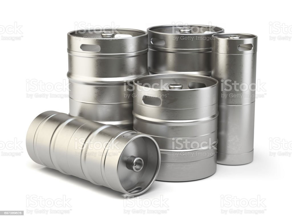 Metal beer kegs isolated on white background stock photo