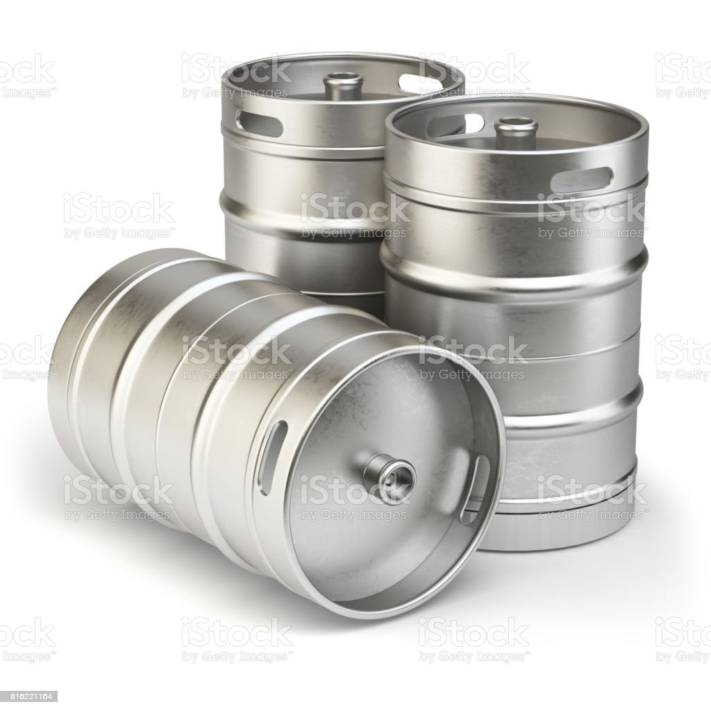 Metal beer kegs isolated on white background. stock photo