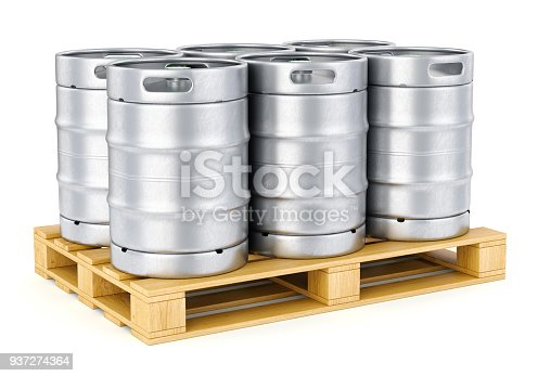 istock Metal beer kegs on pallet 937274364