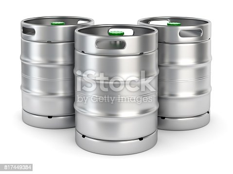 istock Metal beer kegs on white background 817449384