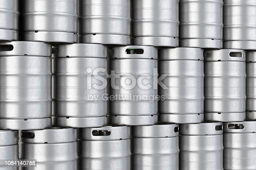 istock Metal beer kegs stack background. 3D illustration 1084140788