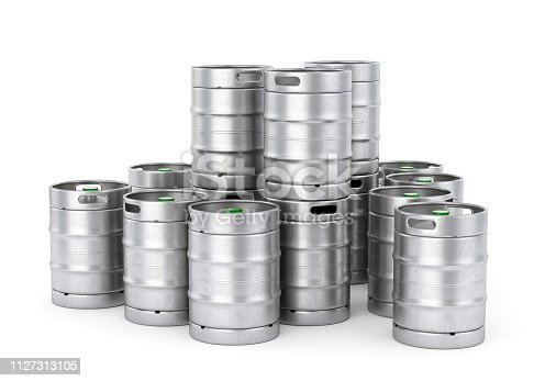 istock Metal beer kegs stack isolated on white background. 3D illustration 1127313105