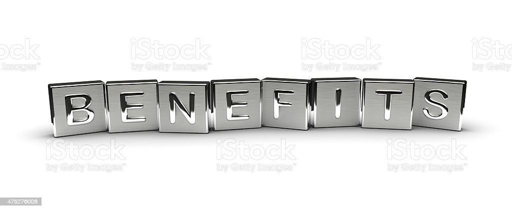 Metal Benefits Text stock photo