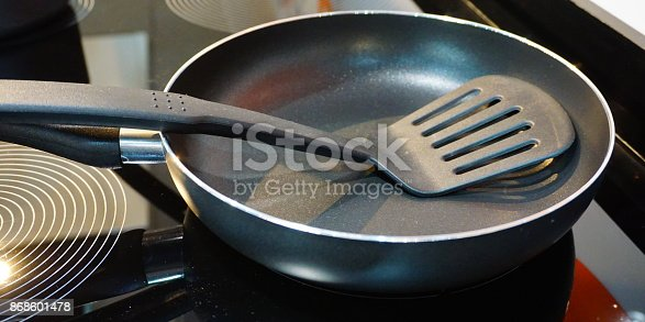 istock Metal black frying pan with a non-stick coating on electric stove 868601478