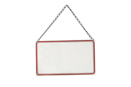 Metal blank sign hanging on a chain, isolated on white