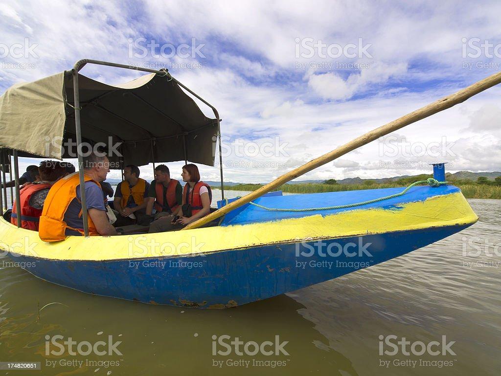 Metal boat stock photo