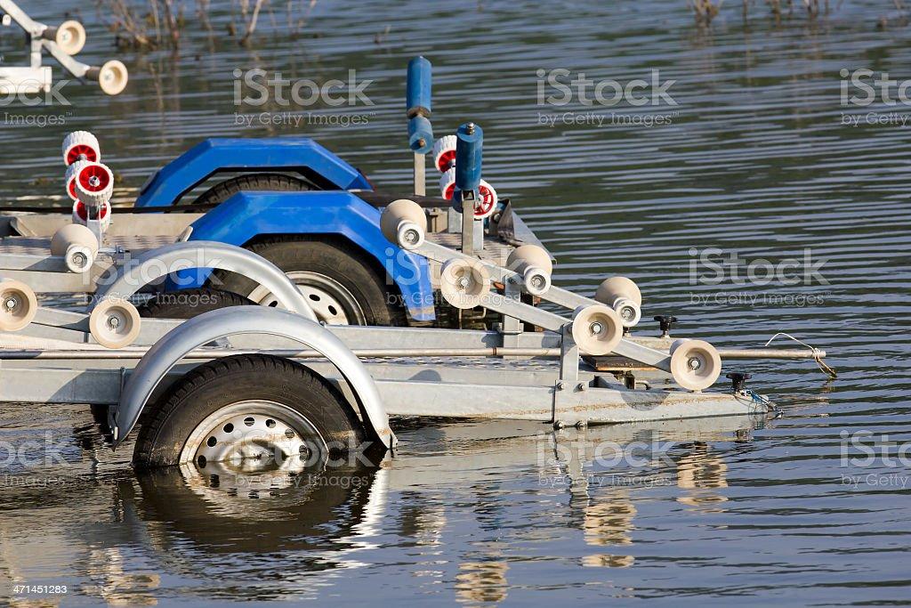 metal boat trailer stock photo