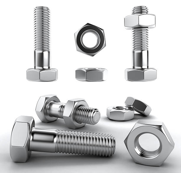 Metal bolts 3D Several chrome bolts, 3D render bolt fastener stock pictures, royalty-free photos & images