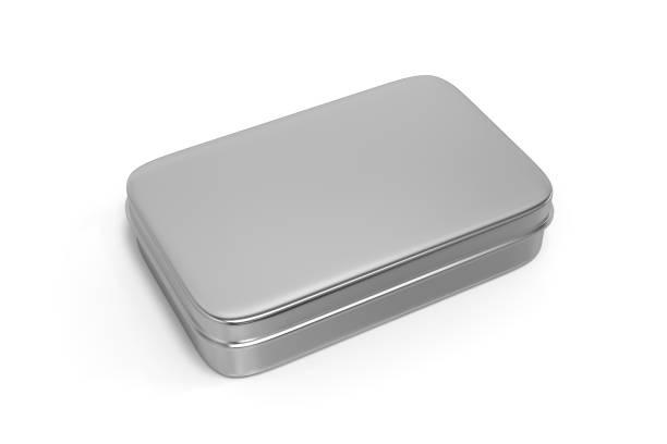 metall-box auf weißen hintergrund isoliert - aluminiumkiste stock-fotos und bilder
