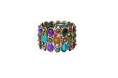 metal bracelet encrusted with colored stones, fashion jewelry