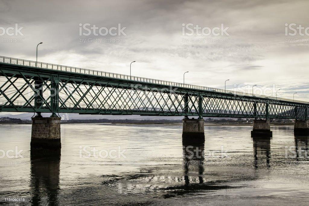 Metal bridge in Lisbon stock photo