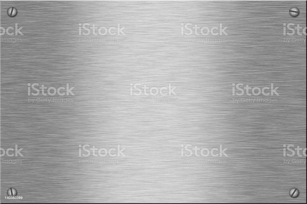 Metal brushed silver plate with screws in the corners stock photo