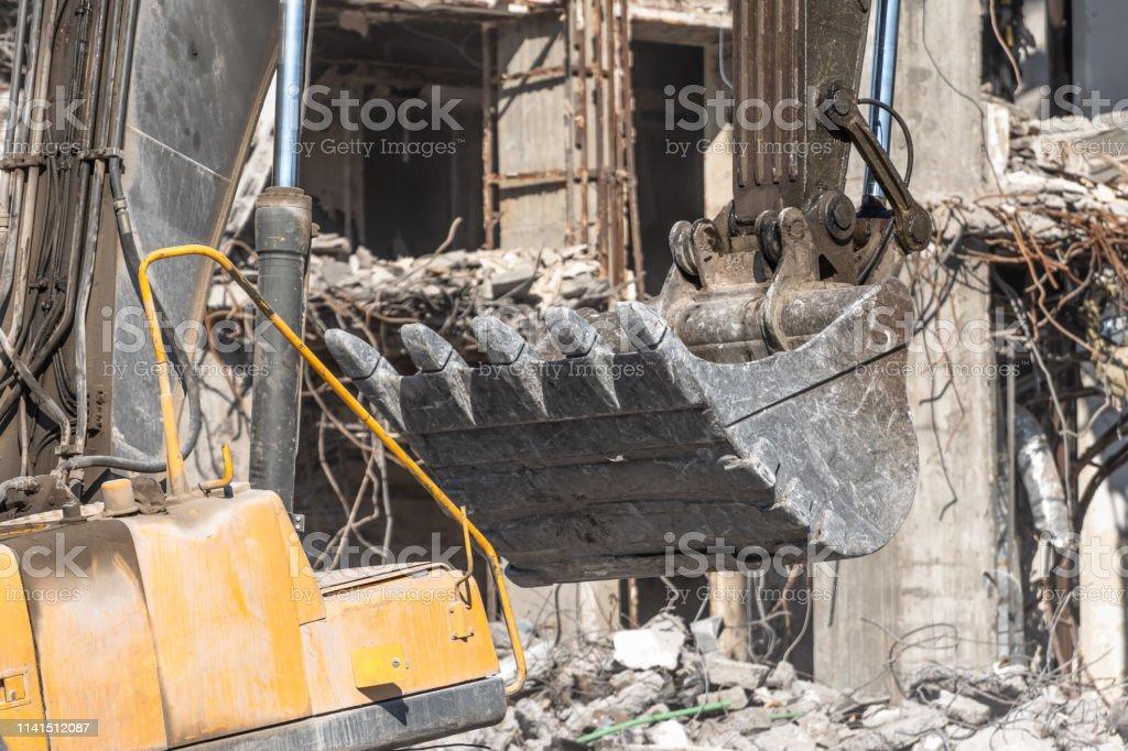 Metal Bucket Hydraulic Excavator Boom Digs Stones And Debris