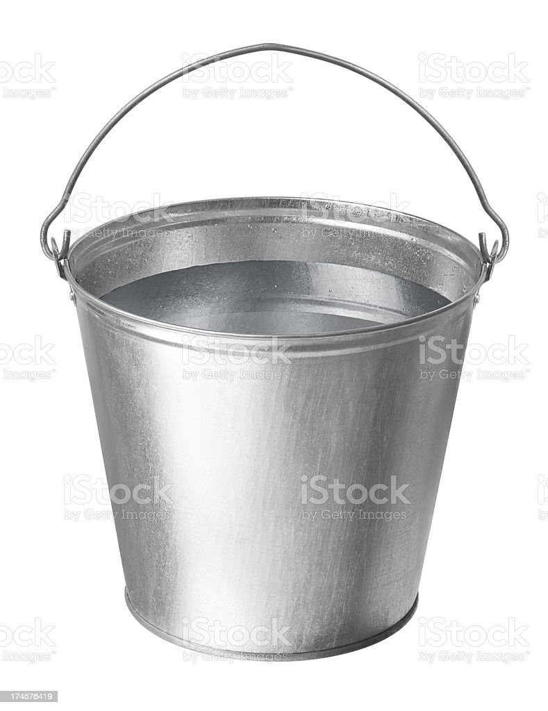 metal bucket with water stock photo