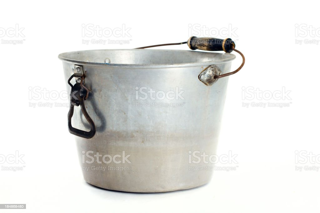 Metal Bucket With Wood Handle royalty-free stock photo
