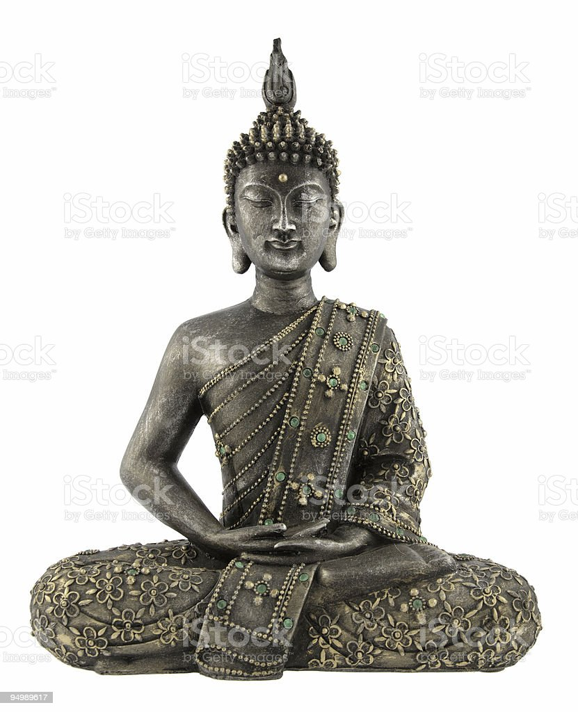 Metal Buddha statue with gyms on a white background stock photo