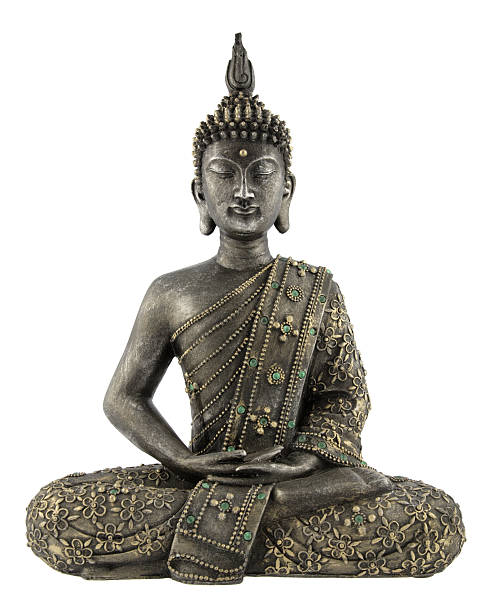 Metal Buddha statue with gyms on a white background http://www.beboy.fr/is/buddha.jpg buddha stock pictures, royalty-free photos & images