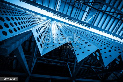 istock Metal building structure of factory roof 1257423057