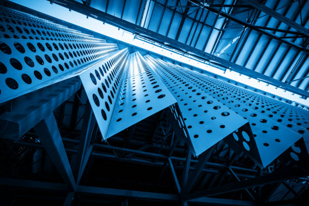 Metal building structure of factory roof stock photo