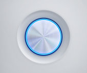 Metal button with blue glow