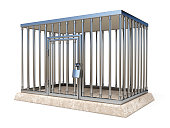 Metal cage with lock side view 3D