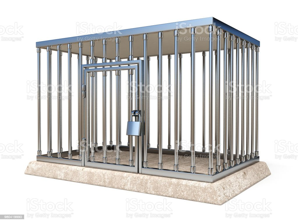 Metal cage with lock side view 3D stock photo