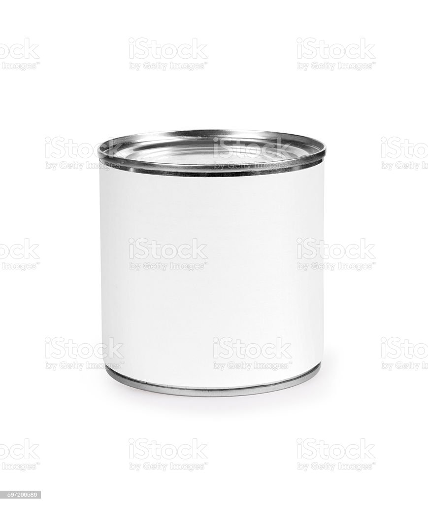 Metal can for preserved food on white background, Lizenzfreies stock-foto