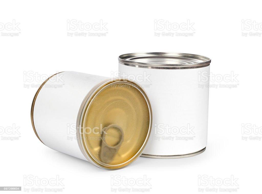 Können aus Metall mit erhaltenen Speisen Lizenzfreies stock-foto
