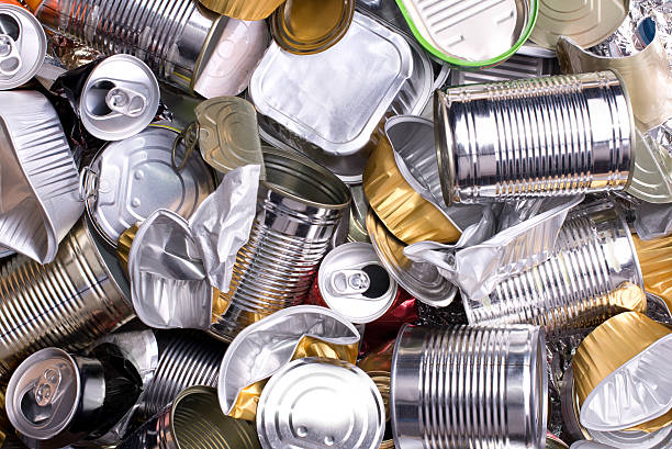 metal cans and tins prepared for recycling - aluminium bildbanksfoton och bilder