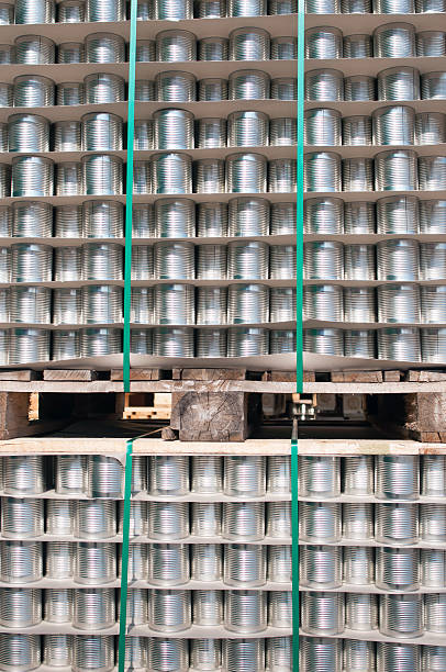 Metal cans background stock photo