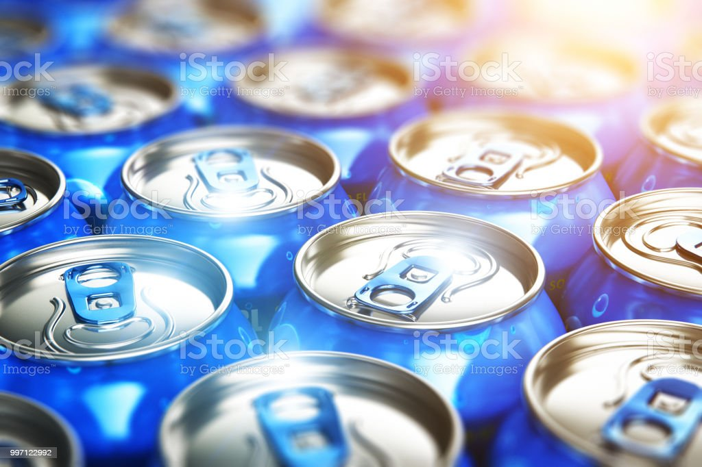 Metal cans with soda refreshing drinks royalty-free stock photo