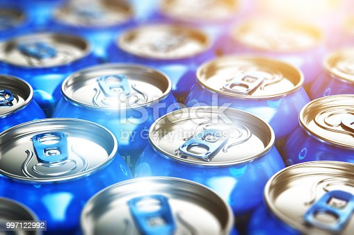 Creative abstract 3D render illustration of the macro view of blue metal shiny drink tin cans with soda refreshing beverages selective focus bokeh effect