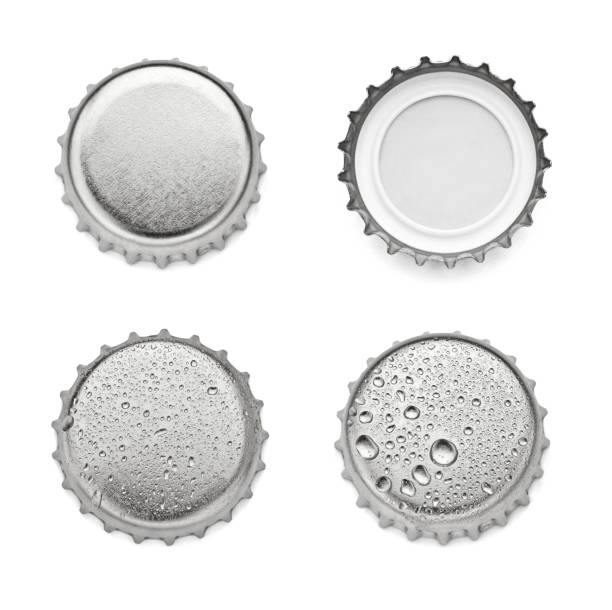 metal cap bottle drink close up of  a bottle cap on white background bottle cap stock pictures, royalty-free photos & images