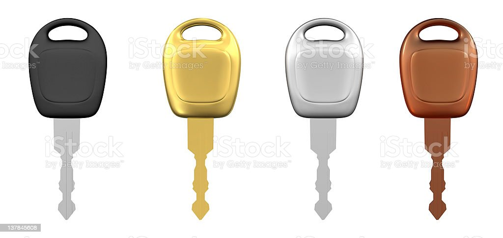 Metal Car Keys Isolated royalty-free stock photo