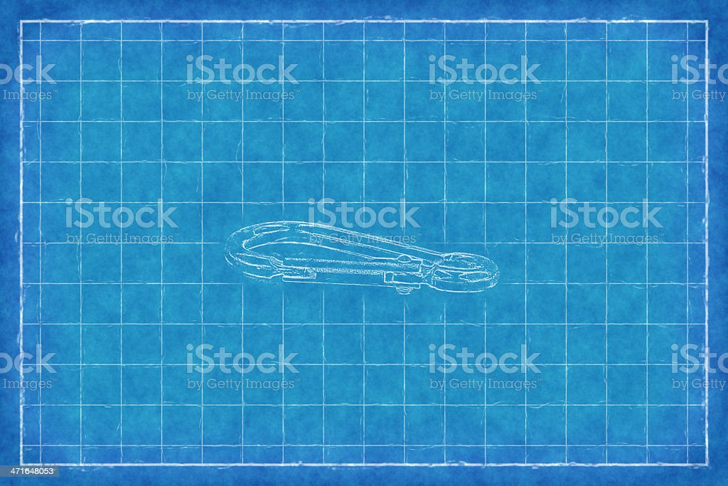 Metal carabiner - Blue Print royalty-free stock photo