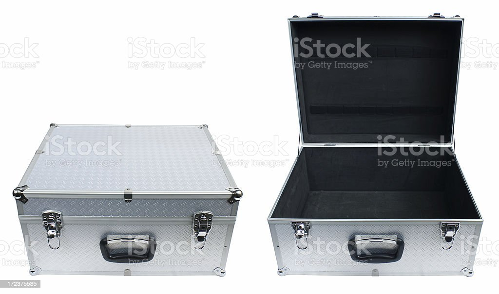 Metal case opened and closed, with clipping path, great icon stock photo
