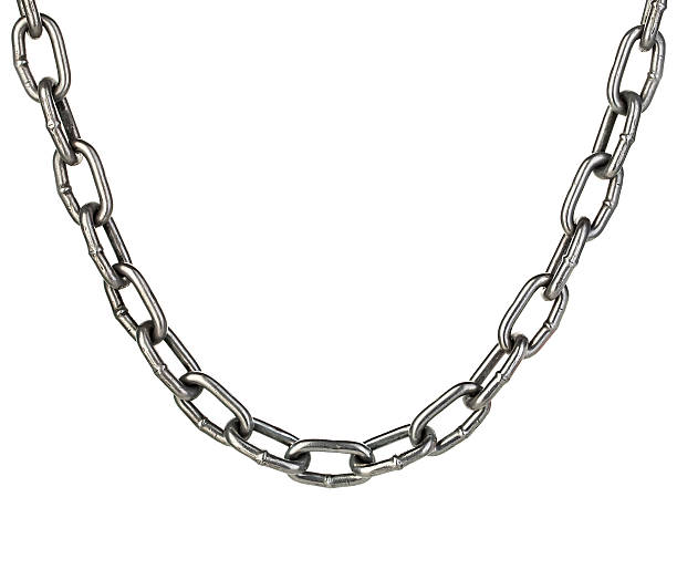 Metal chain close-up isolated on a white background. stock photo