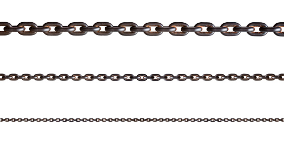 Rusty metal chain isolated on white background with clipping path
