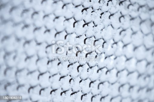 Metal chain link fence under show layer, background photo with soft selective focus