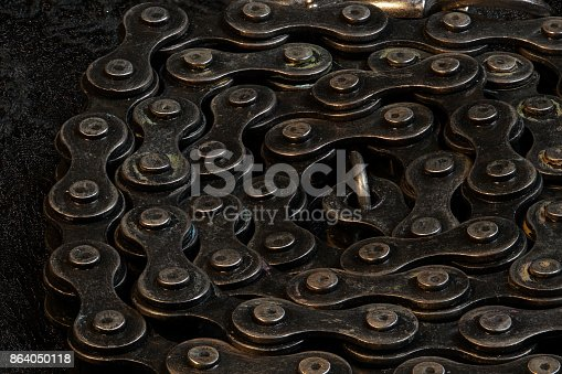 924754302istockphoto Metal Chain round up circle on black fabric, close up 864050118