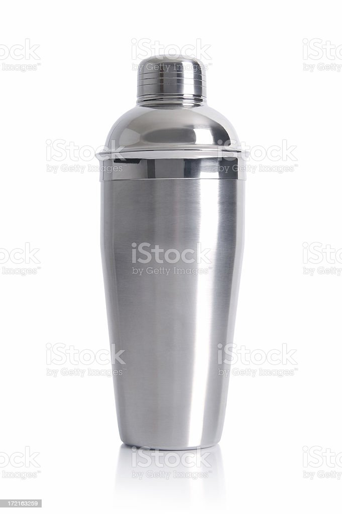 Metal chrome cocktail shaker for parties stock photo