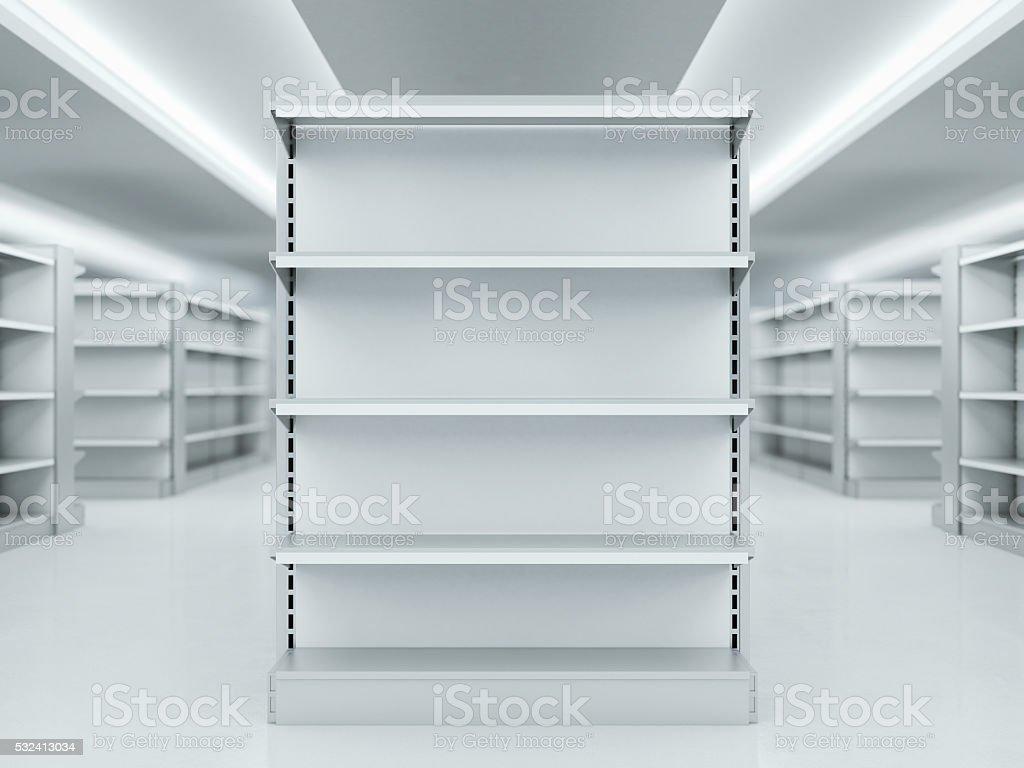 Metal limpio estantes en el mercado. Representación en 3D - foto de stock