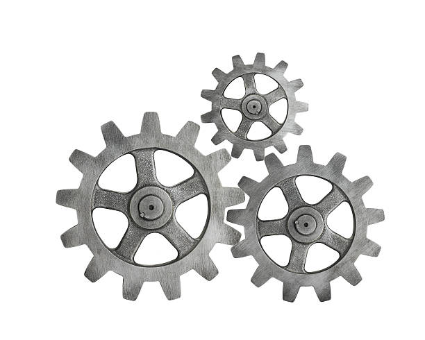 metal cog on white background - cog stock photos and pictures