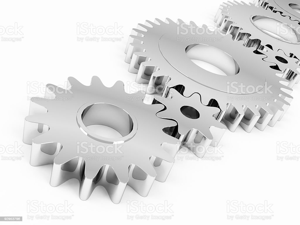 Metal cog wheels stock photo