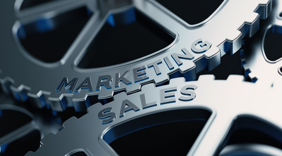 Metal Cogs With Marketing And Sales Text - Marketing Concept