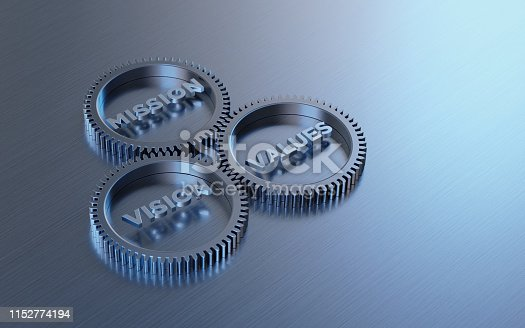 Metal cogs are turning. Mission, vision and values words are written on the cogs. Horizontal composition with copy space.