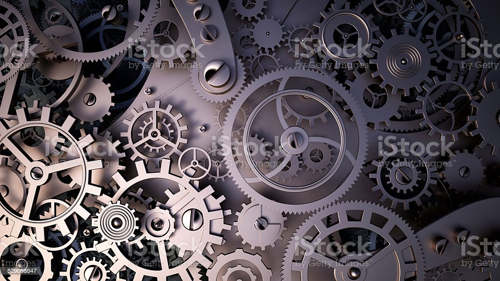 metal cogwheels a clockwork. Macro, extreme closeup clock mechanism stock photo