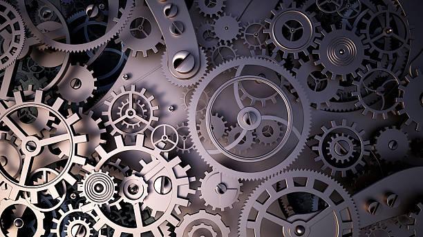 metal cogwheels a clockwork. Macro, extreme closeup clock mechanism stock photo